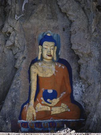 A Painted Stone Buddha Near Lhasa, Tibet