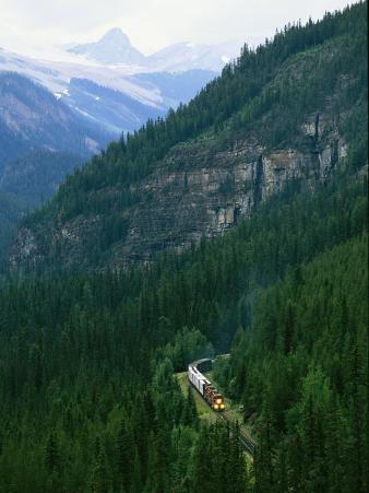 The Canada Pacific Train Travels Through Kicking Horse Pass