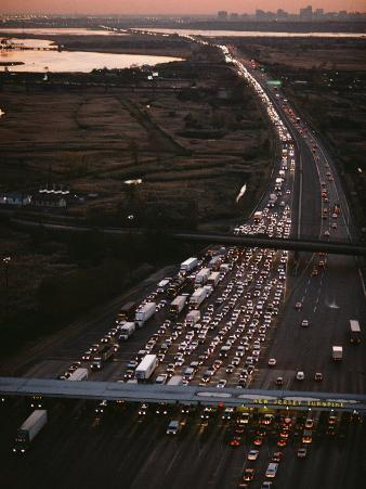 Hundreds of Cars Line up to Pay a Toll on the New Jersey Turnpike
