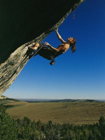 Young Woman Climbing the Rock Feature Called Bobcat Logic