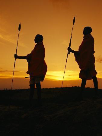 Silhouetted Laikipia Masai Guides on a Bush Safari