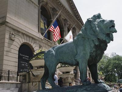 Bronze Lions Stand Guard over the Art Institute of Chicago Entrance