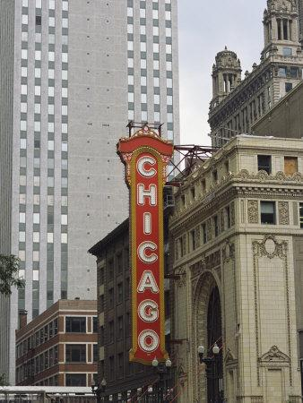 View of the Neo-Baroque Chicago Theatre