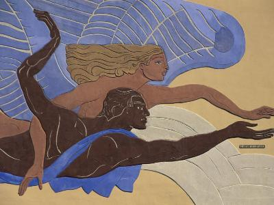 Relief Sculpture Depicting a Man and Woman Swimming Or Flying
