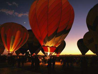 At a Ballon Festival in Albuquerque at Dusk
