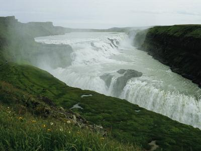 The Double Cascade Waterfall of Gullfoss, by Far Europes Most Powerful Waterfall
