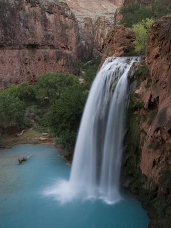 A Blue Waterfall Wets the Arid Landscape of the Grand Canyonl