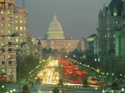The U.S. Capitol Building Viewed from Pennsylvania Avenue at Twilight