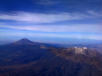 Aerial View of Popocatepetl and Iztaccihuatl Volcanoes