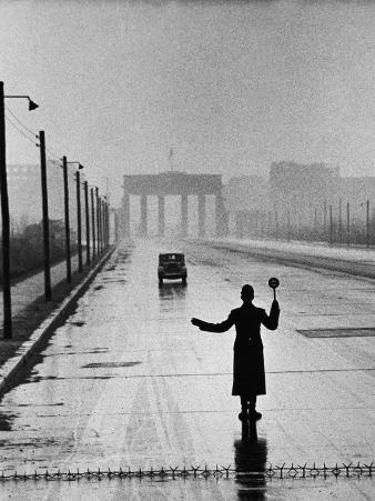 Automobile Arriving from the Eastern Sector of Berlin Being Halted by West Berlin Police