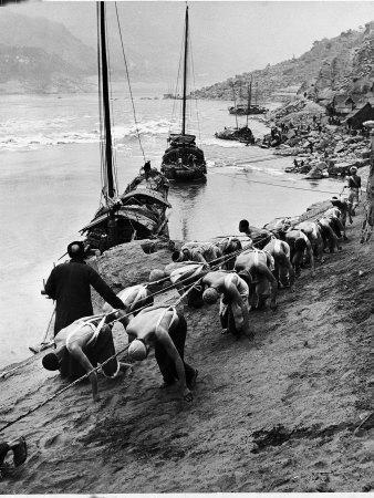 2 Rows of Chinese Trackers Plodding Along Bank of Yangtze River Towing a Junk Slowly Up River