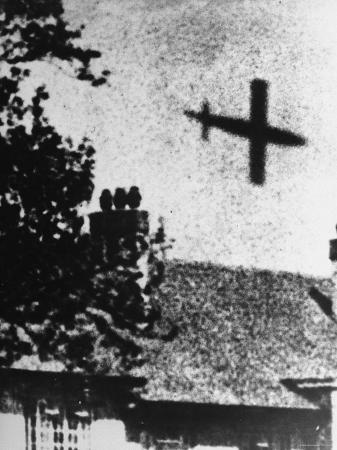 Grainy Picture of V-1 in Flight over Home During WWII
