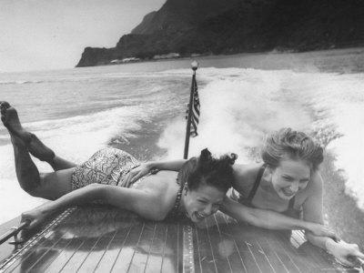 Betty Brooks and Patti McCarty Motor Boating at Catalina Island