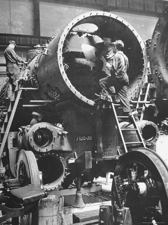 Workers Putting Together the Boiler Tube Portion of an 0-8-0 Switching Locomotive