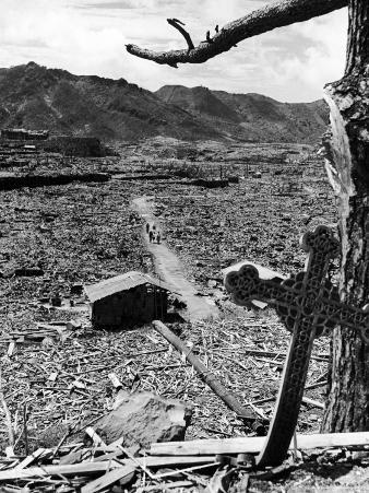 Cross Blown Out of Cathedral by Atomic Bomb Blast Overlooking the Total Devastation of the City