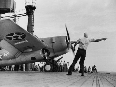 """Close Up of Fighter Plane Before Takeoff from Flight Deck of Aircraft Carrier """"Enterprise"""""""