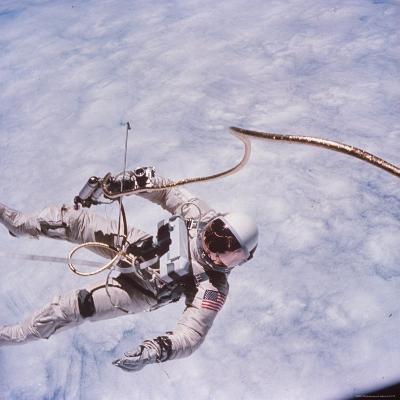 Gemini 4 Astronaut Edward H. White II Floating in Space During First American Spacewalk