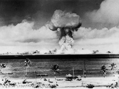 Huge Mushroom Cloud Hangs over Bikini During American Atomic Bomb Test
