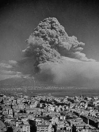 Lava Dust from Eruption of Mount Vesuvius Spiraling Above Naples
