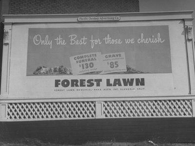 Close Up of Sign Advertising Forest Lawn Cemetery