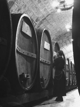 Jesuit Novitiate Winery, Oak Casks of Wine in Underground Tunnel of Winery