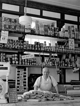 Butcher Standing at Meat Counter of Deli