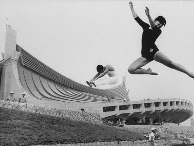 Gymnasts Outside the New Olympic Building in Japan