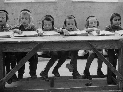 Children at Orthodox Jewish School Doing Lessons