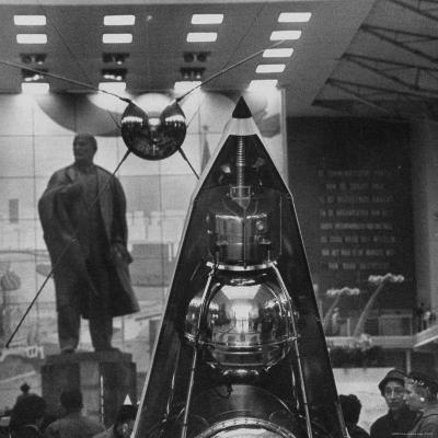 Space Satellite Exhibit and Statue of Nikolai Lenin in Soviet Pavilion, at Brussels World's Fair
