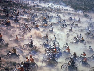 Motorcyclists Racing 75 Miles Cross Country Through Mojave Desert