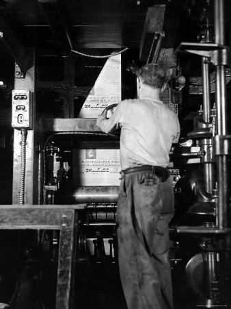 View of a Press Printing the Jewish Daily Forward