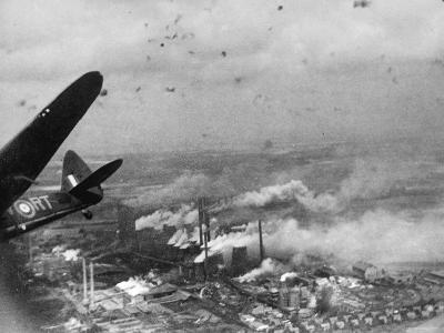 View of a Daylight Bombing Raid by the British on Municipal Power Stations