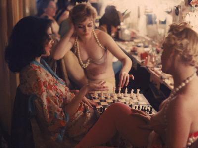 Showgirls Playing Chess Between Shows at Latin Quarter Nightclub