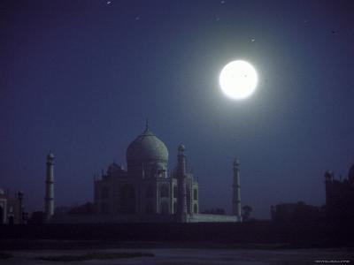 The Taj Mahal at Night with Bright Full Moon