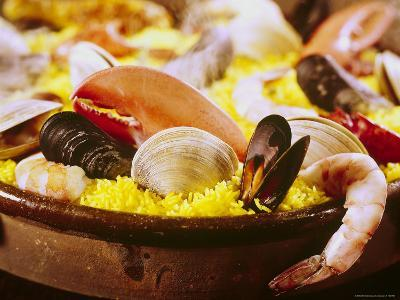 Plateful of Paella Made with Mussels, Shrimp and Rice