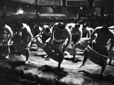 Sumo Wrestlers Performing a Ritual Dance Before a Demonstration Match