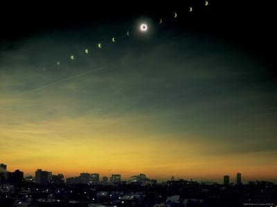 Multiple Exposure Image of All Stages of Eclipse of the Sun over Winnipeg