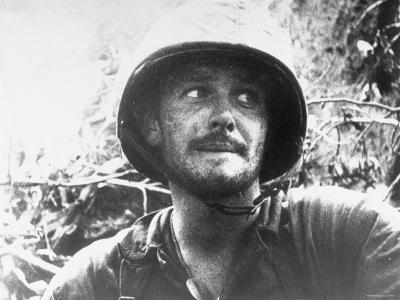 US Marine Biting Lower Lip While Engaged in Action at Peleliu Island, During WWII. Palau Islands