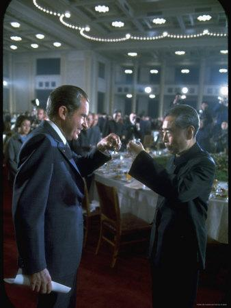 President Richard Nixon Toasting with Chinese Premier Zhou Enlai at Banquet