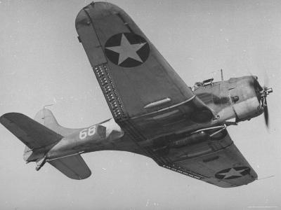 View of a Navy Dive Bomber Flying Through the Air