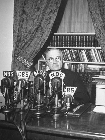 President Harry S. Truman Sitting in Chair Used by Formed President Franklin D. Roosevelt
