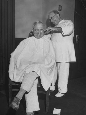 President Harry S. Truman Getting a Haircut