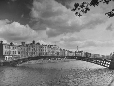View of the Liffey River and the Metal Bridge in Dublin