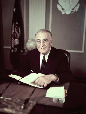 President Franklin D. Roosevelt Before Broadcasting Sixth War Loan Drive, in His Office