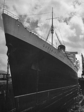 The Oceanliner Queen Elizabeth in Dry Dock For Overhaul and Refitting Prior to Her Maiden Voyage