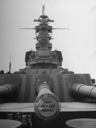 The Battleship South Dakota Resting in the Ship Storage Yard with It's Guns Sealed