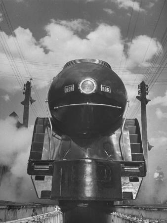 The Front End of a Streamlined Locomotive Sitting in Shaffer's Crossing Yard