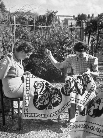 Women Doing Embroidery Work