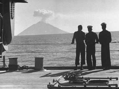 Sailors Watching Smoke Coming Out of the Top of Mt. Stromboli