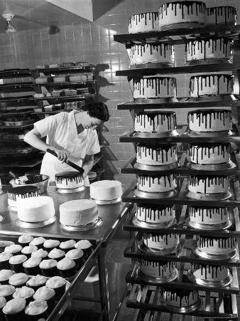 Woman Frosting Cakes at Schrafft's in Rockefeller Center